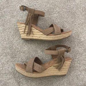 Minnetonka Moccasin Leather Wedge Heels